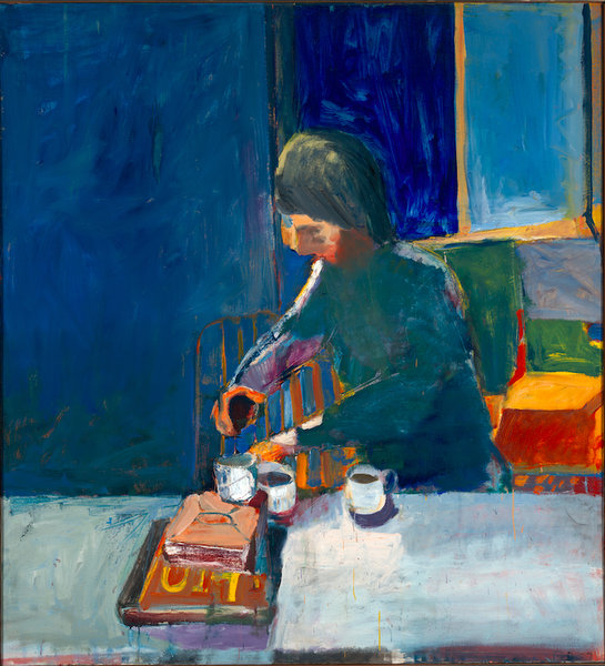 """Richard Diebenkorn, """"Girl with Cups"""" (1957), oil on canvas, 59 x 54 in. (149.9 x 137.2 cm). Yale University Art Gallery, Gift of Richard Brown Baker, b.a. 1935, 1975.110.1. (image © The Richard Diebenkorn Foundation)"""