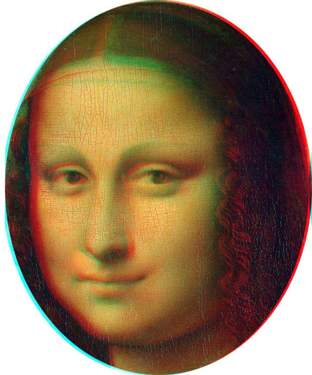 Mona Lisa face in 3D/red-cyan anaglyph