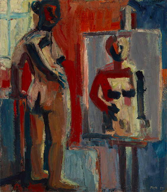 """David Park, """"The Model"""" (1959), oil on canvas, Yale University Art Gallery, Partial promised gift of Karen, Lawrence, and Ellen Eisner, in memory of their mother, Anita Brand Eisner; gift of Laila Twigg-Smith, by exchange; and purchased with the Charles B. Benenson, B.A. 1933, Fund; the Walter H. and Margaret Dwyer Clemens, B.A. 1951, Director's Discretionary Fund for the Yale University Art Gallery; the Leonard C. Hanna, Jr., Class of 1913, Fund; The Iola S. Haverstick Fund for American Art; The Heinz Family Fund; the Katharine Ordway Fund; the Joann and Gifford Phillips, Class of 1942, Fund; and the George A., Class of 1954, and Nancy P. Shutt Acquisition Fund. (image courtesy of Hackett 