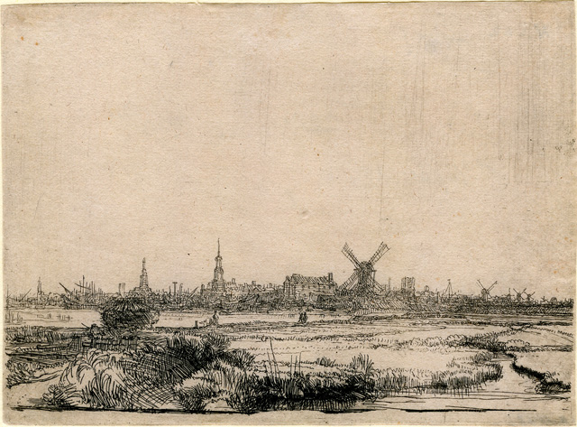 """Rembrandt Harmenszoon van Rijn, """"View of Amsterdam from the North West"""" (c. 1641), etching, 112 x 153 mm"""