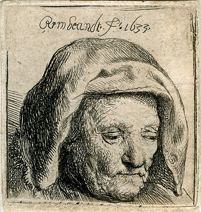 """Rembrandt Harmenszoon van Rijn, """"The Artist's Mother in a Cloth Headdress, Looking Down: Head Only"""" (1633), etching, 42 x 40 mm"""