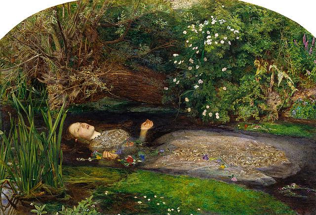 "John Everett Millais, ""Ophelia"" (1851), oil on canvas (via Tate Britain)"