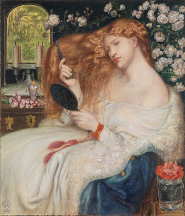 """Dante Gabriel Rossetti & Henry Treffry Dunn, """"Lady Lilith"""" (1867), Watercolor and gouache on paper, 20 3/16 x 17 5/16 in. (courtesy the Metropolitan Museum of Art, Rogers Fund, 1908)"""