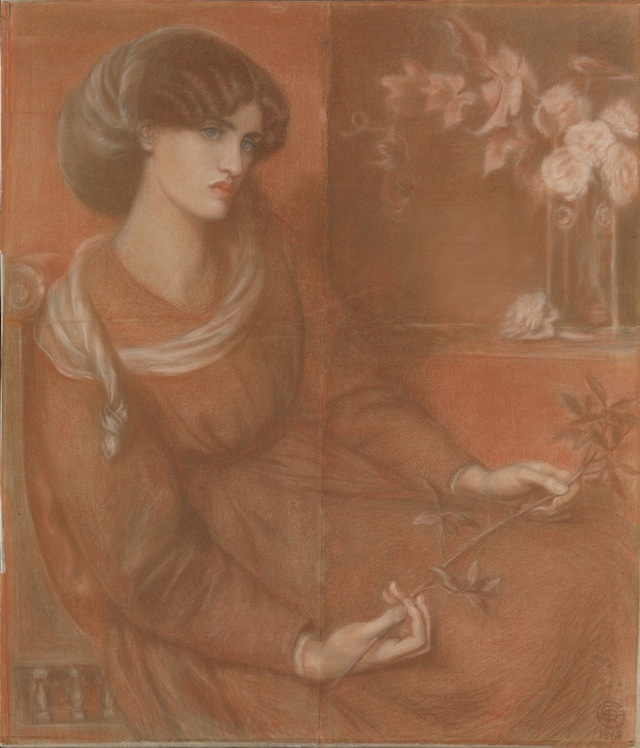 """Dante Gabriel Rossetti, """"Jane  Morris – Study for 'Mariana'"""" (1868), Red chalk, 35 3/4 x 30 3/4 in. (courtesy the Metropolitan Museum of Art, Gift of Jessie Lemont Trausil, 1947)"""