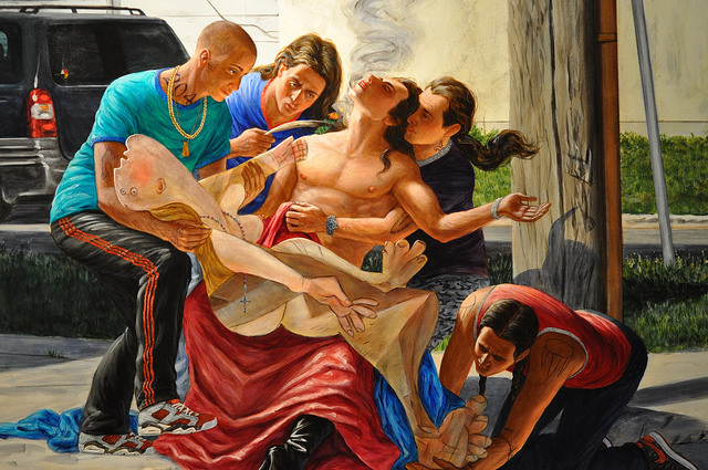 "Detail of Kent Monkman, ""The Deposition"" (2014), acrylic on canvas, 84 x 126 inches (all images by the author for Hyperallergic)"