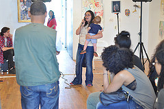 One of the participants taking part in The Living Gallery's open mic event last Saturday.