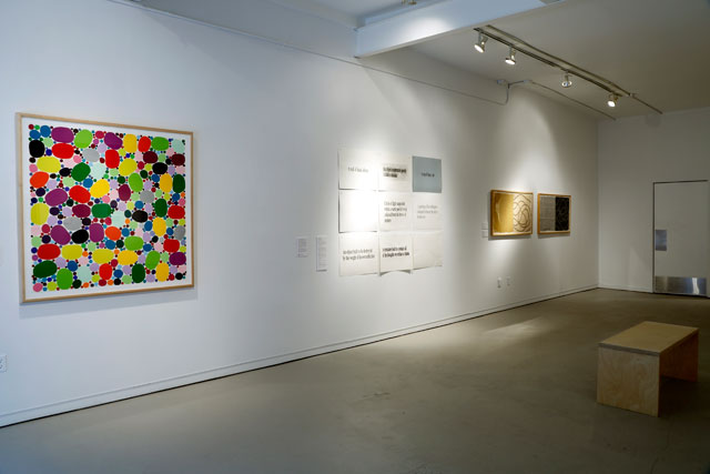 """Installation view, 'PRESS: Artist & Machine,' with Polly Apfelbaum's """"Dogwood Leap #8"""" (2009), hiromi handmade DHM-11 triple thick paper, on far left"""