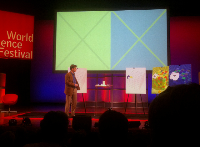 Neuroscientist & artist Bevil Conway using Josef Albers as an example of color impacted by its environment (photograph by the author)