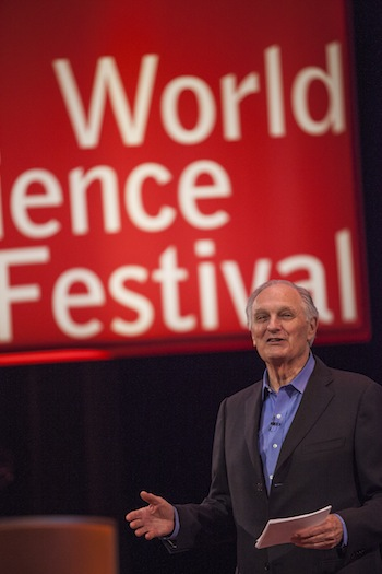 """Alan Alda at the """"What Is Color?"""" event (photograph by Greg Kessler, courtesy World Science Festival)"""