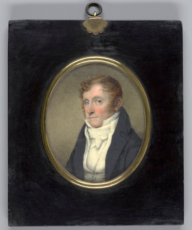 Self-portrait by William Dunlap (1812), watercolor on ivory (via Yale University Art Gallery)