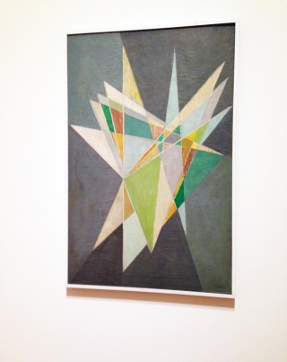 "Lygia Clark, ""Composition, version 01"" (1953), oil on canvas, 40 9/16 x 26 3/4"" (103 x 68 cm) (click to enlarge)"