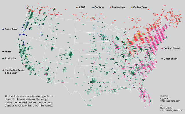 """""""Which Coffee Chain Dominates Your City,"""" from FlowingData for Fastcodesign.com, with information from AggData"""