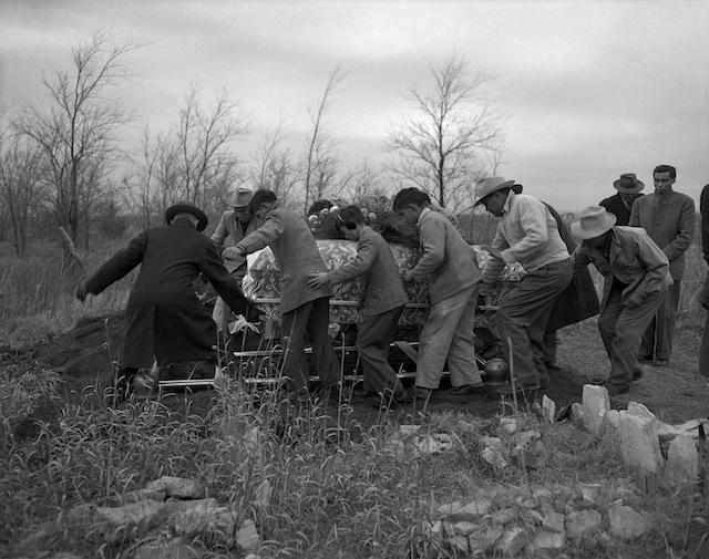 Caption: Funeral of Agnes (Mrs. Abel) Big Bow (Kiowa). Hog Creek, Oklahoma, 1947. 45UFN9 Tom Jones 7 1/2 hour