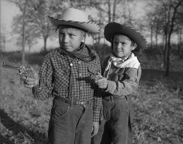 "Caption: Robert ""Corky"" and Linda Poolaw (Kiowa/Delaware), dressed up and posed for the photo by their father, Horace. Anadarko, Oklahoma, ca. 1947. 45HPF57 Tom Jones 1 1/2 hour Stephanie Nutt 3 hours"