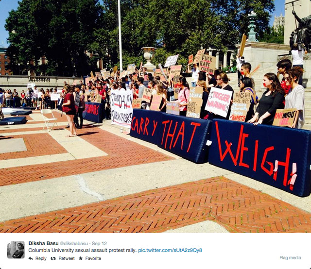A tweet and photo by Diksha Basu shows the rally at Columbia on Friday (photo by Diksha Basu/via Twitter)