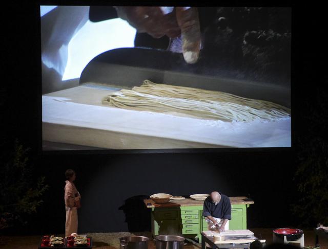 Chef Tatsuru Rai cuts the soba with a special knife