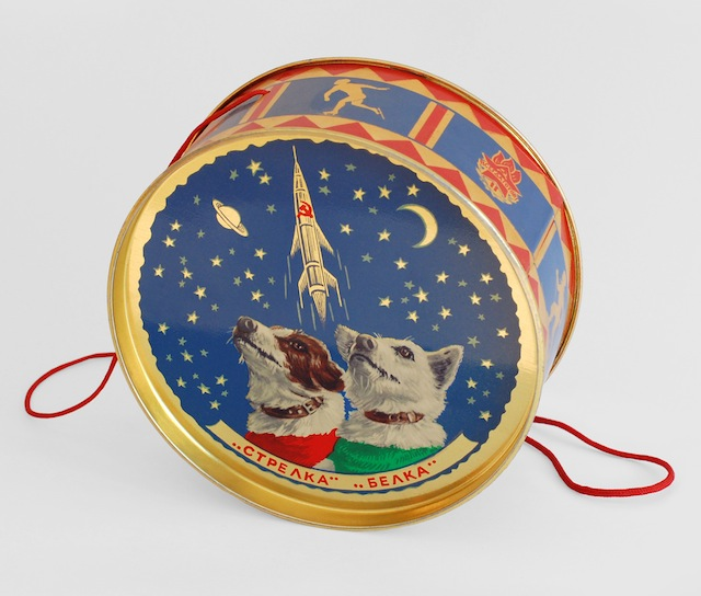 """BELKA STRELKA SWEET TIN Confectionery tin, USSR (1960) These tins were given to young guests of the New Year's Eve party at the Kremlin. Text reads '""""Strelka"""" """"Belka""""'.  © FUEL Publishing / Marianne Van den Lemmer"""