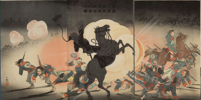 A Japanese shell explodes in the Chinese camp at Kinshū (Jinzhou) in this print by Kobayashi Kiyochika, part of the album published by Daikokuya Heikichi in 1895.