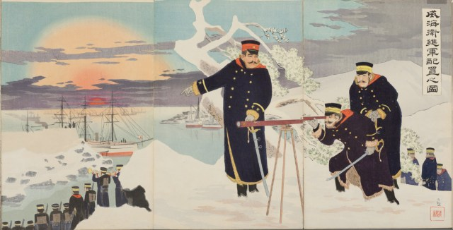 Kobayashi Kiyochika's image captures troops at Ikaiei Weihaiwei. This print, published by Inoue Kichijirō, features artificial aniline dyes, which were brighter than more traditional inks.