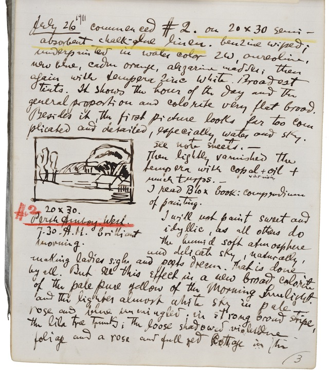 Oscar Bluemner's painting diary, kept from June 12, 1911 until January 30, 1912. (Image courtesy of the Archives of American Art, Smithsonian Institution)