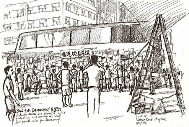 "A drawing by Gary Yeung of the ""Bus for Democracy"" set up on Nathan Road (Image via Facebook)"