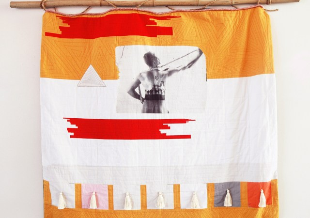"""Chelsea Rae Klein, """"Uncovering Covering, Wholecloth"""" (2014), quilt with digital print on fabric, cotton, linen, rayon, silk, metallic, polyester, cotton batting, wool backing"""