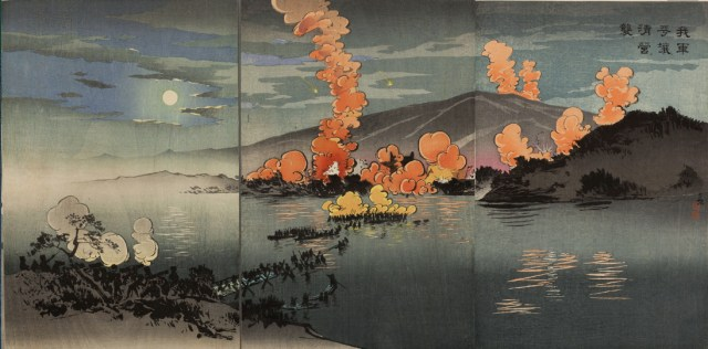 This print by Kobayashi Kiyochika, part of the album published by Daikokuya Heikichi in 1895, depicts the Japanese army attacking the Chinese camp.