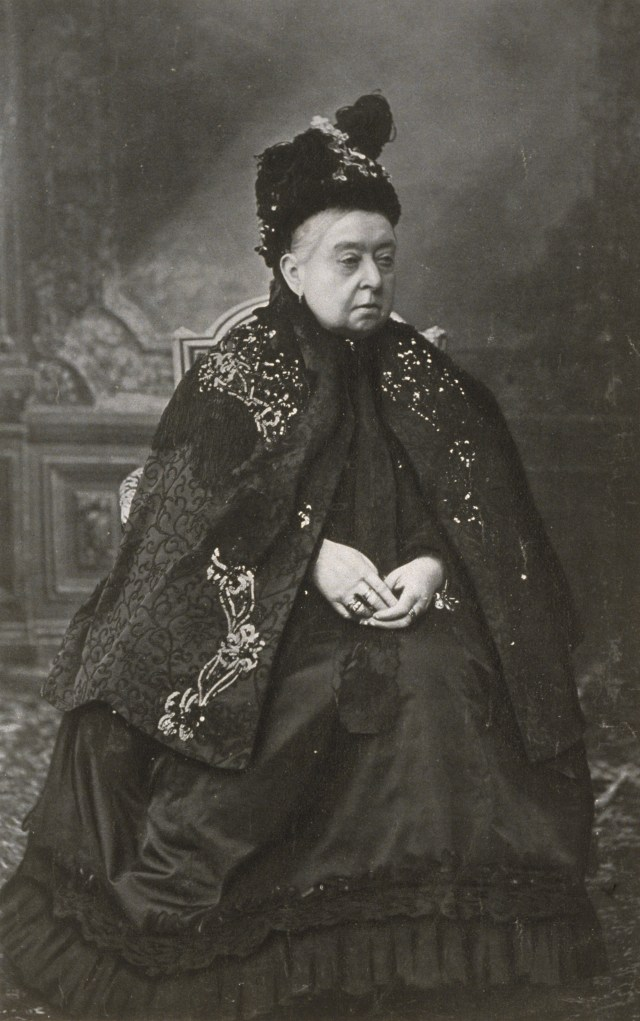 """This 1900 photograph of Queen Victoria still in her black mourning gown (her husband died in 1861) was taken by an unknown photographer. The monarch was the first to utilize photography to control her public persona as the """"grandmother of Europe."""" The museum explains, """"In 1853, she and her husband, Prince Albert, began to collect photographs, and they soon realized the power of these life-like images. Queen Victoria released portraits of herself and her family, and the public developed a newfound, more personal connection with their queen."""" Eleanor Stanley, lady-in-waiting to Queen Victoria, once exclaimed that """"the queen could be bought and sold for a Photograph!"""""""