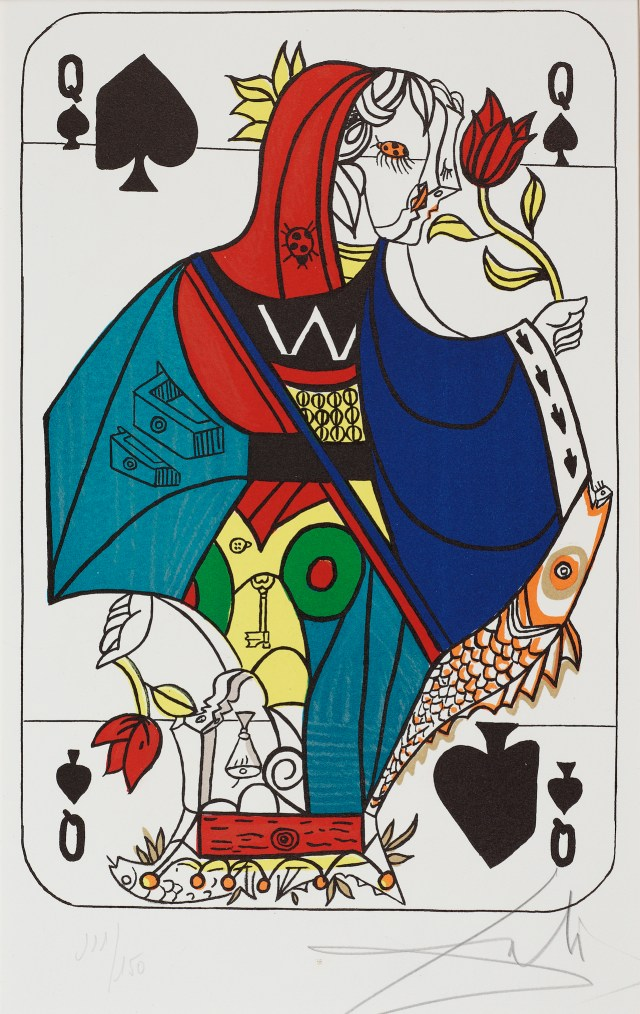 """""""Queen of Spades, Part of Playing Card Suite"""" (1970) by Salvador Dali (All images courtesy of Smith College Museum of Art)  Lithograph printed in color on paper. Gift of Reese Palley and Marilyn Arnold Palley."""