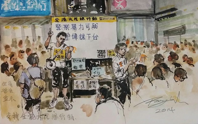 A drawing by Wu Romy depicting students declaring strike reasons (Image via Facebook)