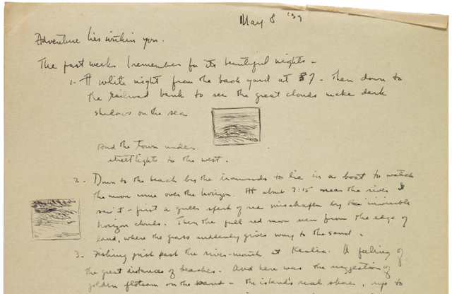 A May 8, 1939 diary entry by Reuben Tam describing several evenings spent fishing and exploring Hawaiian beaches. (Image courtesy of the Archives of American Art)