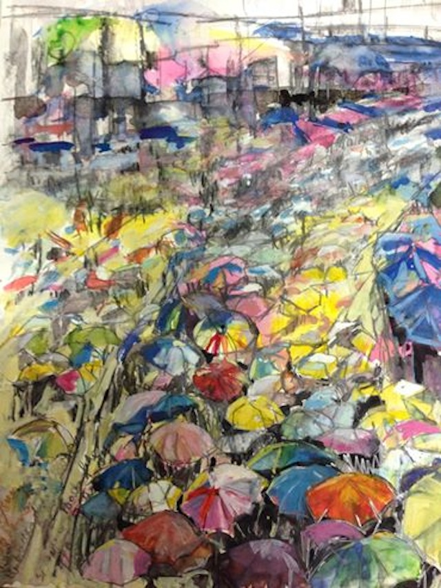 Umbrellas blooming in Admiralty by Christine Bruce (Image via Facebook)