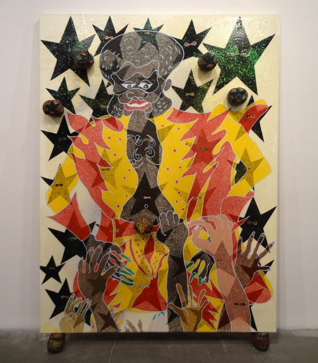 """Chris Ofili, """"The Legend of Captain Shit and the Legend of Black Stars (Third Version)"""" (1998)"""