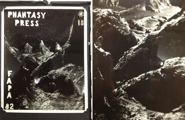 Phantasy Press zine with a photographic print of a space diorama from the Hevelin Collection (courtesy of UI Libraries and Special Collections)