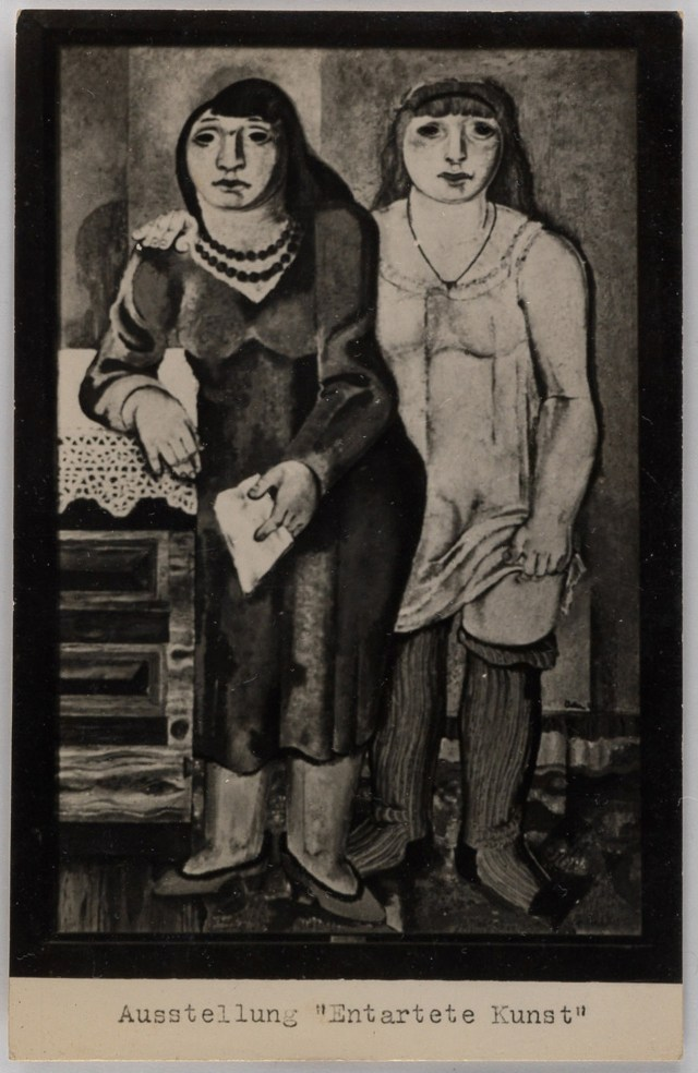 "'Entarte Kunst' Berlin exhibition postcard, showing Jankel Adler's painting ""Mother and Daughter"""