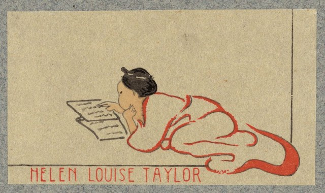 Bookplate of Helen Louise Taylor, Cincinnati, Ohio, wood engraving (via Library of Congress, Prints and Photographs Division)