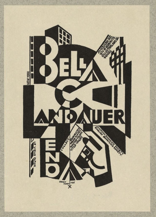 "Bookplate of Bella C. Landauer with ""Lend a hand"" motto, linocut designed by Sidney Hunt (via Library of Congress, Prints and Photographs Division)"