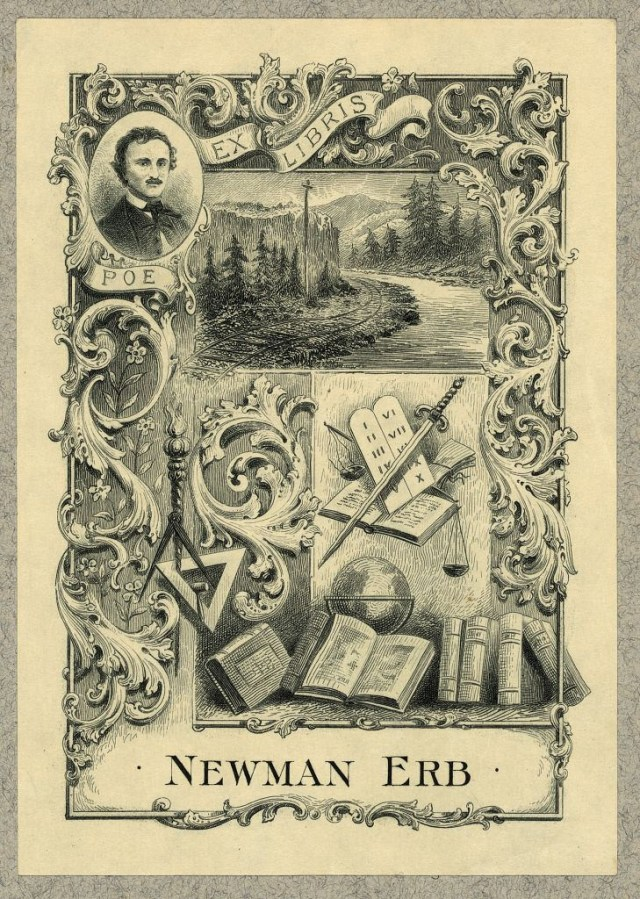 Bookplate of Newman Erb, railroad executive, etching (via Library of Congress, Prints and Photographs Division)