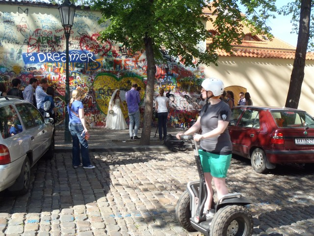 """Crowds at the John Lennon Wall in 2012 (photo by  Sheep""""R""""Us/Flickr)"""