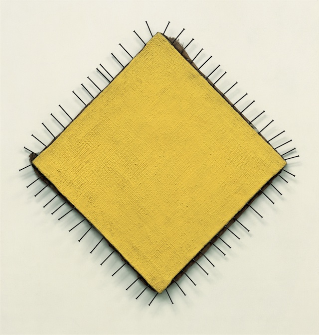 Günther Uecker The Yellow Picture (Das gelbe Bild), 1957–58 Nails and oil on canvas, 87 x 85 cm Private collection © Günther Uecker Photo: Nic Tenwiggenhorn