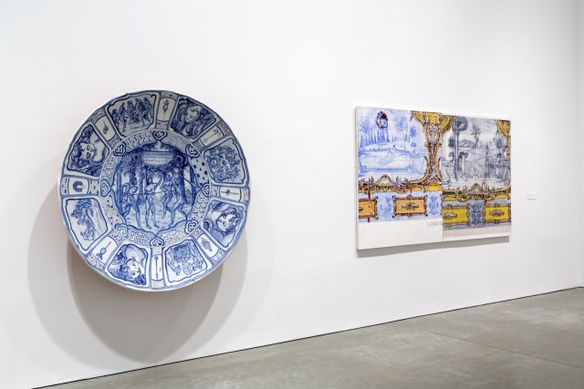 An installation view of Adriana Varejão's solo show at ICA Boston. The artist's work often features azulejo —blue painted Portuguese tiles. The colonizers brought the craft to Brazil.