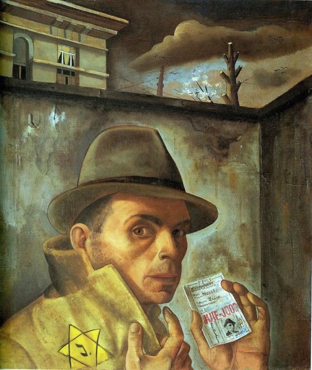 """Felix Nussbaum, """"Self-Portrait with Jewish Identity Card"""" (via Wikimedia)"""