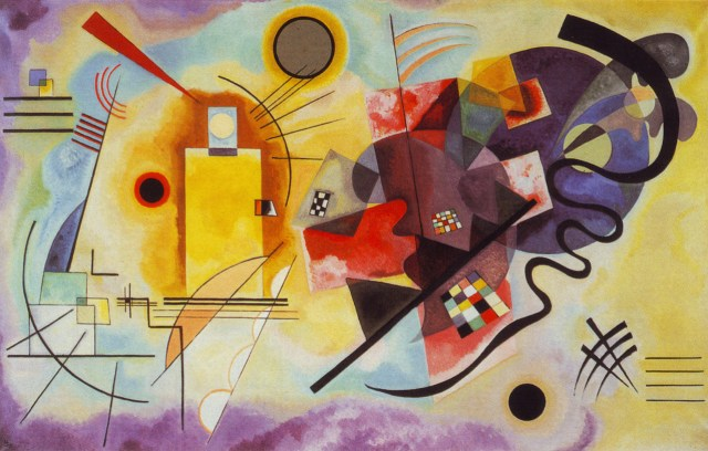 """Wassily Kandinsky, """"Yellow-Red-Blue"""" (1925), oil on canvas (Musée National d'Art Moderne, Centre Georges Pompidou, Paris, via WikiArt)"""