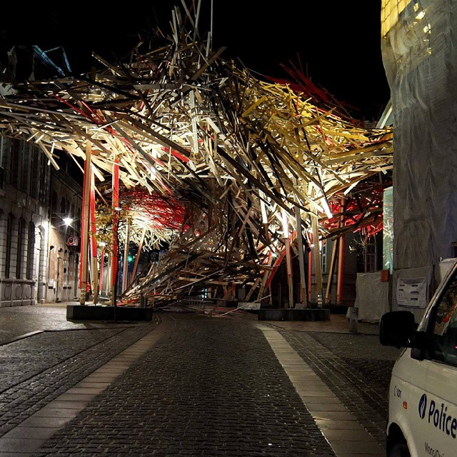 """Arne Quinze's partially collapsed """"Passenger"""" (2014)"""