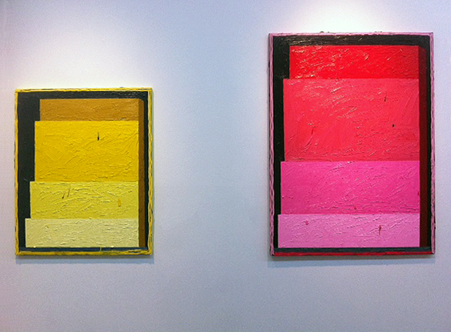 "Russell Tyler, ""R-DOCK"" (2013), oil on canvas, 40 x 30 inches, and ""YGP"" (2013), oil on canvas, 40 x 30 inches."