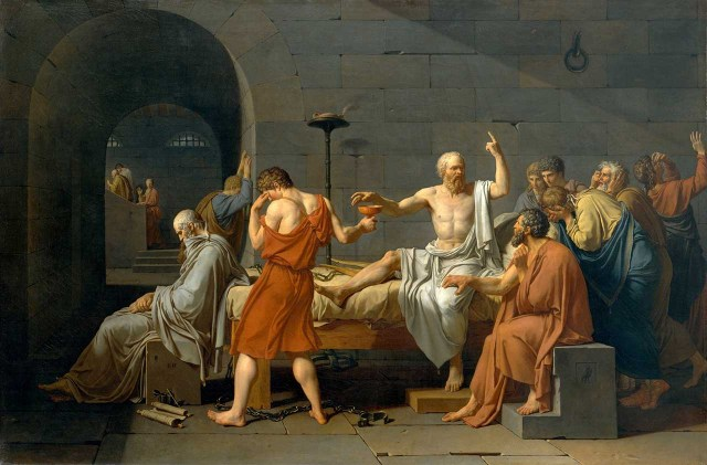 """Socrates, a male philosopher, surrounded by yet more male philosophers, in Jacques-Louis David's """"The Death of Socrates"""" (1787) (via Wikipedia)"""