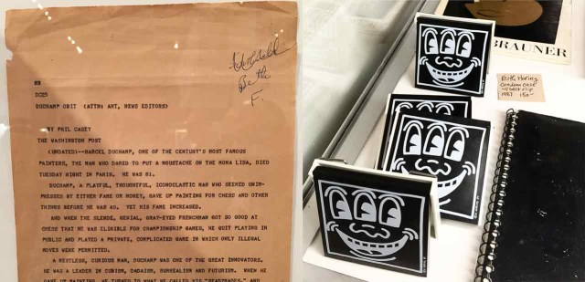 Some of the objects at Monograph Bookwerks including, left, The Washington Post 1968 obituary of Marcel Duchamp, and, right, Keith Haring-designed condom cases with belt clips from 1987.