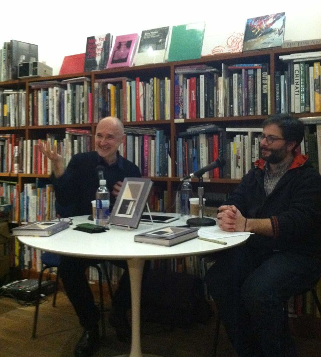 Richard McGuire and Bill Kartalopoulos at 192 Books (photo by the author for Hyperallergic)