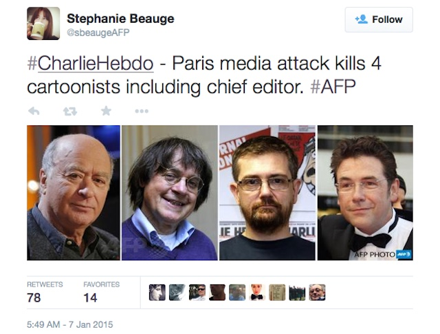 The four cartoonists killed in Wednesday's attack on the Charlie Hebdo office (photo via sbeaugeAFP/Twitter)