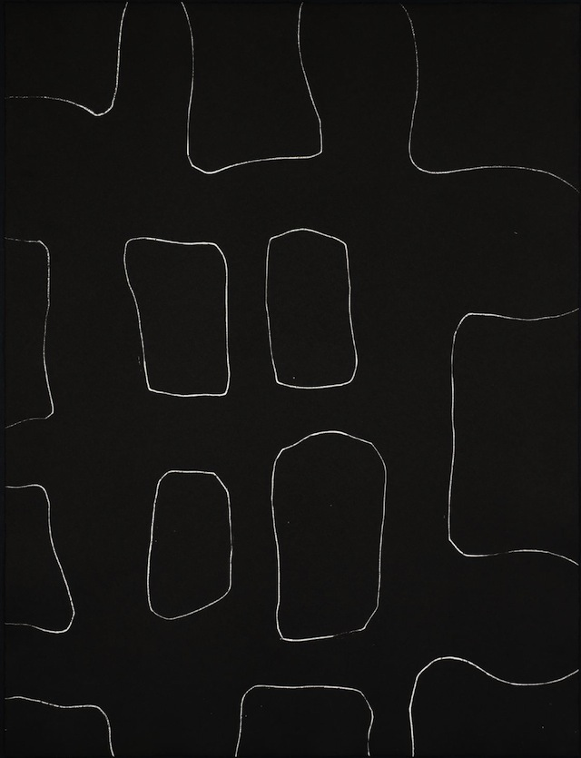 """Ian McKeever, """"Colour Etching D"""" (1996): """"A book with a digital camera with a few inside of it or I think there is a cell phone holder in front of it. I'm reminded of several different cell phones on a white surface."""""""